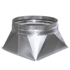 Aluminium instort verloopstuk 400×400 > 200 mm