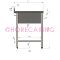 Rvs cheftafel met bodemschap 1000x700x900 mm (spoelbak rechts + rand)