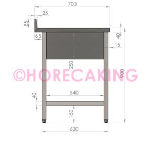 Rvs cheftafel met bodemschap 1200x700x900 mm (spoelbak rechts + rand)