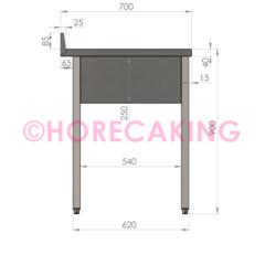 Rvs cheftafel zonder bodemschap 1000x700x900 mm (spoelbak links + rand)