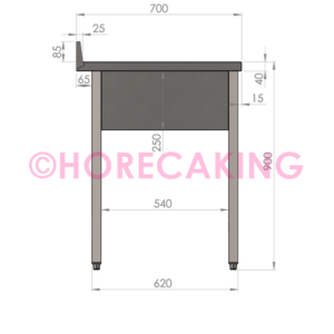 Rvs cheftafel zonder bodemschap 1700x700x900 mm (spoelbak rechts + rand)