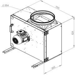 Ruck Rookgas Ventilatorbox 200°C | 3580 m³/h | MPS 315 D2 F4 30